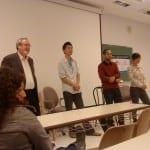 Notre panel (de gauche à droite):  professeur Timothy J. Stanley, Parker Mah, l'écrivain Rob Parungao, Bethany Or